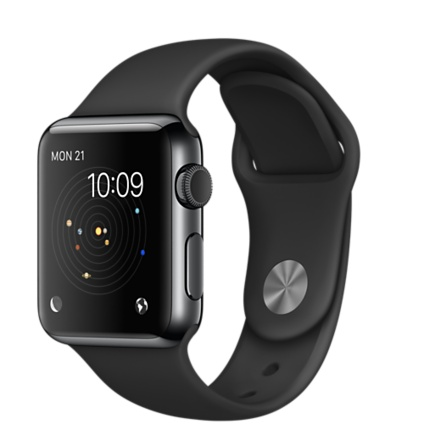 Apple Watch Series 1 38mm Space Black Stainless Steel Case with Black Sport Band (MLCK2)